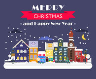 Merry Christmas and Happy New year card. Cool concept for Winter holidays cards. Magical night citylandscape with the street of old town and the car. Flat vector illustration