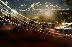 Merry Christmas and Happy New Year card with copy space. Merry Christmas and Happy New Year card with golden shines and copy space for your text - vector vector illustration