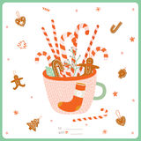 Merry Christmas and Happy New 2016 Year Card. Cute Merry Christmas And Happy New Year card with Gingerbread Christmas Cookies in a Greeting Cup for Xmas Stock Photos