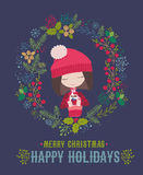 Merry Christmas and Happy New Year Card with cute little girl Royalty Free Stock Photography