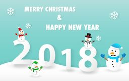 Merry Christmas and Happy New Year 2018 card with cute snowman vector. Eps 10 Stock Photos
