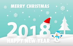 Merry Christmas and Happy New Year 2018 card with cute snowman vector. Eps 10 Stock Images