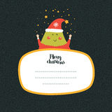 Merry Christmas and Happy New year card. With cute tree and Typographic Wish. Cute Greeting card on winter background Stock Photography