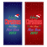 Merry Christmas and Happy New Year Card with decorations Christmas tree on Blue and Red background. Royalty Free Stock Images