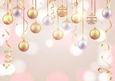 Merry Christmas and Happy New Year card, decorative balls on soft background stock illustration