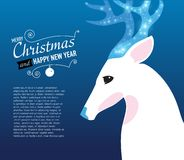 Merry Christmas and Happy New Year Card with Deer. Royalty Free Stock Photo