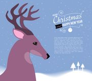 Merry Christmas and Happy New Year Card with Deer. Stock Photos