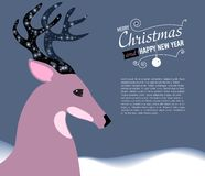 Merry Christmas and Happy New Year Card with Deer. Stock Images