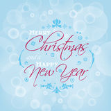 Merry Christmas and Happy New Year card design with bokeh effect royalty free illustration