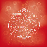 Merry Christmas and Happy New Year card design with bokeh effect Stock Images