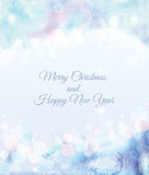 Merry Christmas and Happy New Year card. Design with bokeh for invitation or announcement. Watercolor Christmas background. Abstract vector illustration Stock Photos