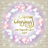 Merry christmas happy new year card design with festive xmas lights. And colorful blur bokeh elements in the background. Ideal for holiday greetings, web, or Royalty Free Stock Images