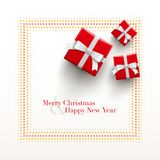 Merry Christmas and Happy New Year Card design. Red gift boxes with dotted frame on white background Stock Photo