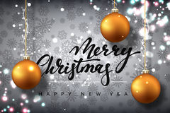 Merry Christmas and Happy New Year card design. Text handmade calligraphy Merry Christmas. Gray background with snowflakes and bright highlights, Christmas Stock Images
