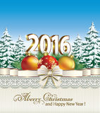 Merry Christmas and Happy New Year 2016. Christmas card with fir trees and balls on a blue background Stock Photos