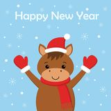 Merry Christmas and Happy New Year card with funny horse royalty free illustration