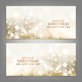Merry Christmas and Happy New Year card. With gold star. Vector illustration Stock Photo