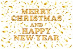 Merry Christmas and happy new year card. Gold template over white background with golden confetti. Happy new year. space abstracti. On. Fallen snow area. Vector Stock Photography