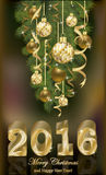 Merry Christmas and Happy New 2016 year card. Merry Christmas and Happy New 2016 year golden banner, vector illustration Royalty Free Stock Photography