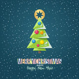 Merry Christmas and Happy New Year card with graphic christmas t Stock Photos