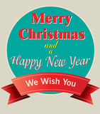 Merry Christmas and Happy New Year card. New greeting card for winter holidays Royalty Free Illustration