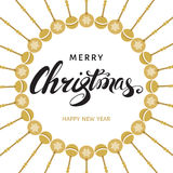 Merry Christmas and Happy New Year  card with  hand  lettering. Stock Images