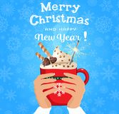 Merry christmas and happy new year card with hands holding cute. Cartoon red cup with hot drink decorated with sweets and sparkler on snowy background. Vector stock illustration