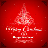 MERRY CHRISTMAS AND HAPPY NEW YEAR CARD... Stock Photography