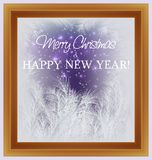 Merry Christmas and Happy New Year card. Holiday frosted window. Vector illustration stock illustration