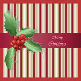 Merry Christmas Happy New Year card. Holly viburnum berry pattern on striped background. Poster, Greeting, Invitation design template. Vector illustration Stock Photo