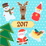 Merry Christmas and Happy New Year 2017 Card Stock Images