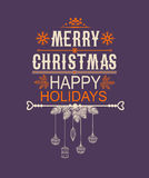 Merry Christmas and Happy New Year Card. Lettering Greeting Card. Vector illustration Stock Image