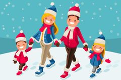 Merry Christmas happy new year card. Merry Christmas illustration or happy new year card. Family of isometric people cartoon. Winter flat vector design vector illustration