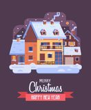Christmas Card with Downtown Winter House by Night. Merry Christmas and Happy New Year card with night rural scene and winter house with smoking chimney vector illustration