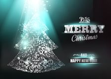 Merry Christmas and Happy New Year 2015 card. Merry Christmas and Happy New Year 2014 card over dark background. Vector illustration Stock Images
