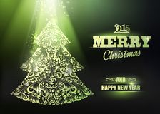 Merry Christmas and Happy New Year 2015 card. Merry Christmas and Happy New Year 2014 card over dark background. Vector illustration royalty free illustration