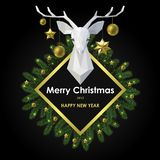 Merry Christmas and Happy New Year Card with Polygonal Deer Head stock illustration