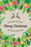 Merry christmas and happy new year card for poster background template retro vector illustration. Merry christmas and happy new year card with flowers for poster royalty free illustration