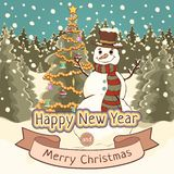 Merry Christmas and Happy New Year card, poster, banner, cartoon colorful drawing, vector illustration, holiday background. Cute. Snowman with decorated spruce royalty free illustration