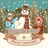 Merry Christmas and Happy New Year card, poster, cartoon colorful drawing, vector illustration, holiday background. Cute boy, girl. And snowman with decorated vector illustration