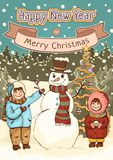 Merry Christmas and Happy New Year card, poster, cartoon colorful drawing, vector illustration, holiday background. Cute boy, girl. And snowman with decorated royalty free illustration