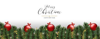 Christmas greeting card of red pine tree baubles stock illustration
