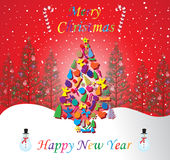 Merry Christmas and Happy New Year card with red background and colorful letter Stock Photography