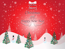 Merry Christmas and Happy New Year card with red background Royalty Free Stock Photo