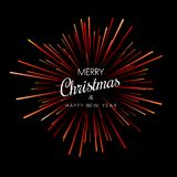 Merry Christmas and Happy New Year card with red firework. Vector background vector illustration