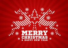 Merry Christmas and happy new year card - Reindeer jump stripe and Christmas tree and snow on red background vector design Royalty Free Stock Photo