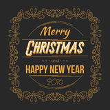 Merry Christmas and Happy New Year Card. Retro Typography Style with Swirls. Vector Illustration Royalty Free Stock Images