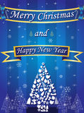 Merry Christmas and Happy New Year card with ribbon on blue background Stock Photography