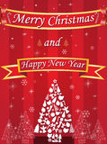 Merry Christmas and Happy New Year card with ribbon on red background Royalty Free Stock Image