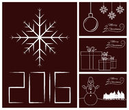 Merry Christmas and Happy New Year card set. Date, snowflake, ball, gift box and other Stock Illustration